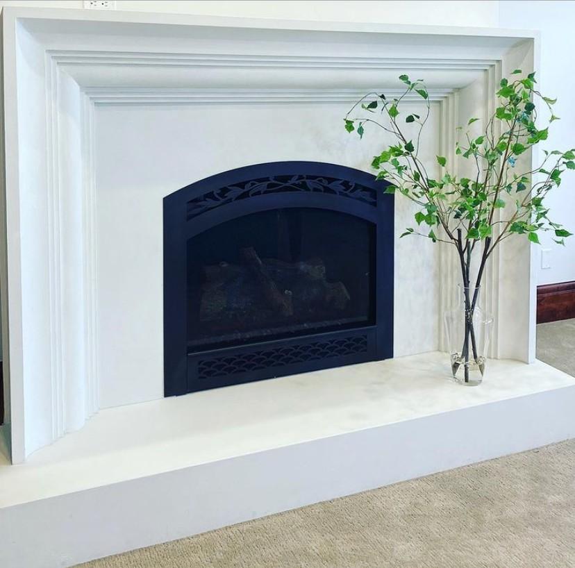 Modern white concrete mantel